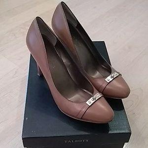 Talbots tan leather heels